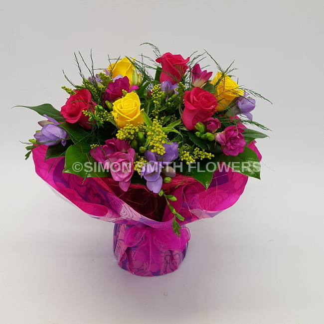 Click to view SCENTED ROSE AND FREESIA VASE