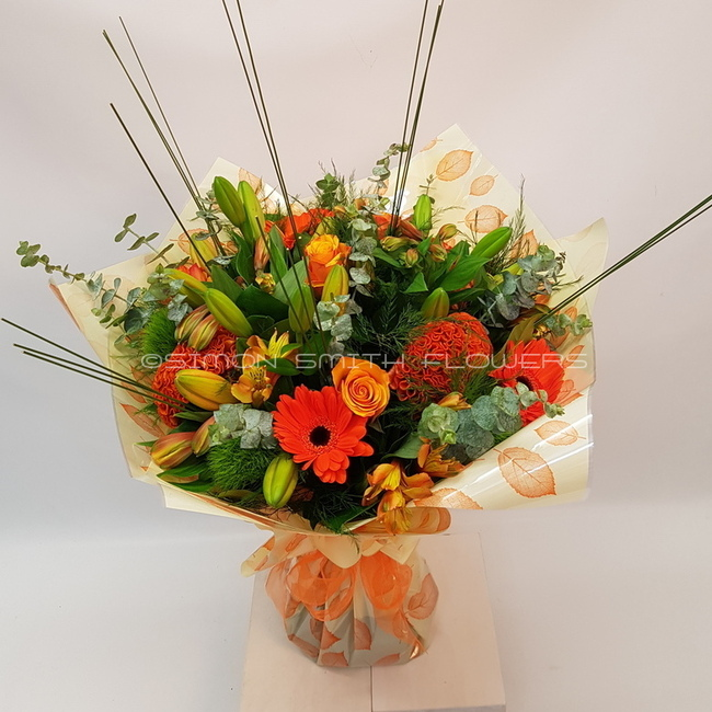 Click to view AUTUMN ORANGE HAND TIED